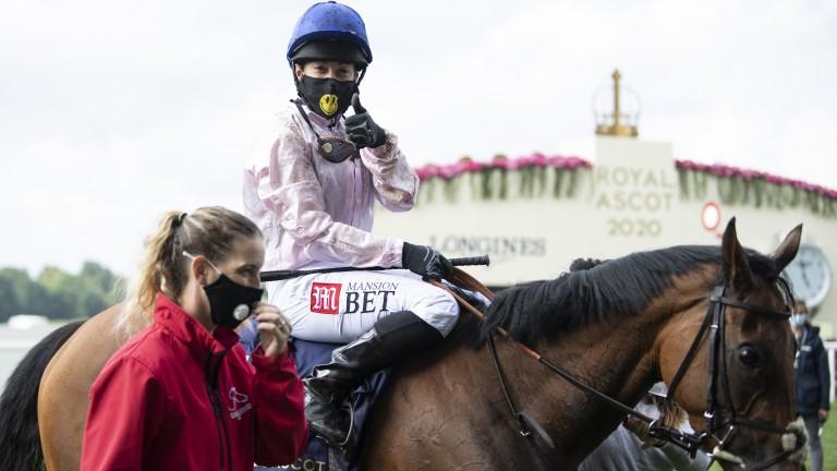 Hayley Turner celebrates after winning the Sandringham on Onassis
