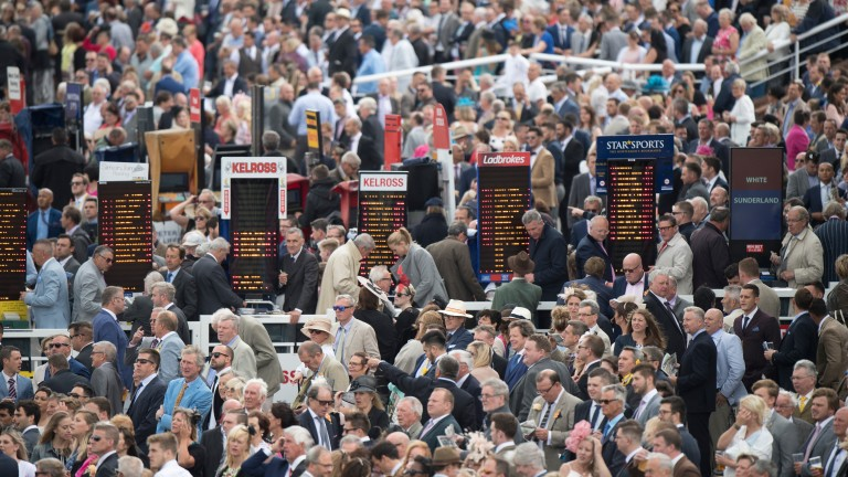 The betting ring at Goodwood on a normal day's racing