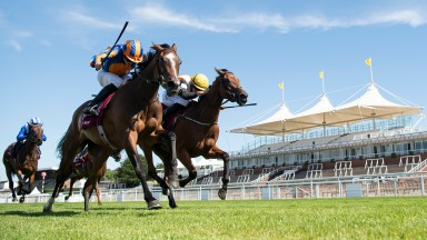 Fancy Blue (Ryan Moore,left) beats One Voice (Tom Marquand) in the Qatar Nassau StakesGoodwood 30.7.20 Pic: Edward Whitaker/Racing Post