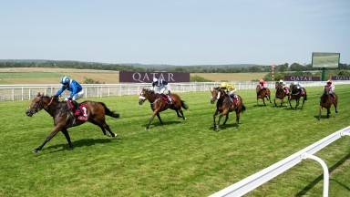 Battaash (Jim Crowley) puts up one of the performances of the summer in the King George Qatar Stakes at Goodwood