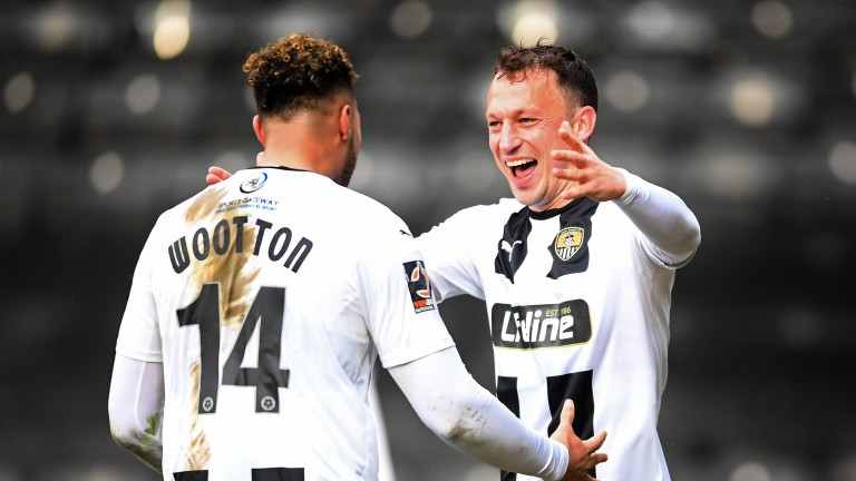 Notts County's Kristian Dennis celebrates with Kyle Wooton