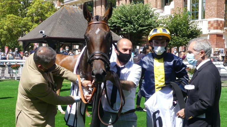 See The Rose with Pierre-Charles Boudot and Andre Fabre after winning the Prix Six Perfections at Deauville