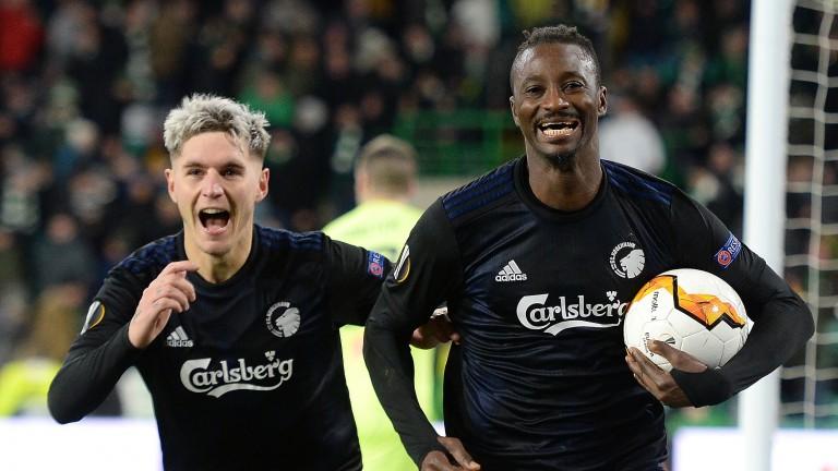 Dame N'Doye celebrates scoring for Copenhagen against Celtic