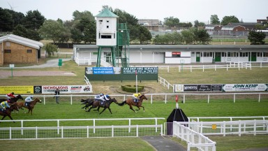 Blackheath (yellow silks) wins the Follow At The Races On Twitter HandicapYarmouth 29.6.20 Pic: Edward Whitaker