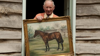 Barry Hills with a painting of Frankincense, whose coup in landing the 1968 Lincoln set up his training career