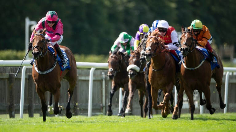 Sceptical (orange, right): finished second to Oxted on what would be his final start in the Darley July Cup