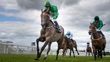 Miss Amulet and Billy Lee winning the Arqana Irish EBF Maxwell Stakes (Listed) from Frenetic.Naas Racecourse.Photo: Patrick McCann/Racing Post 02.08.2020
