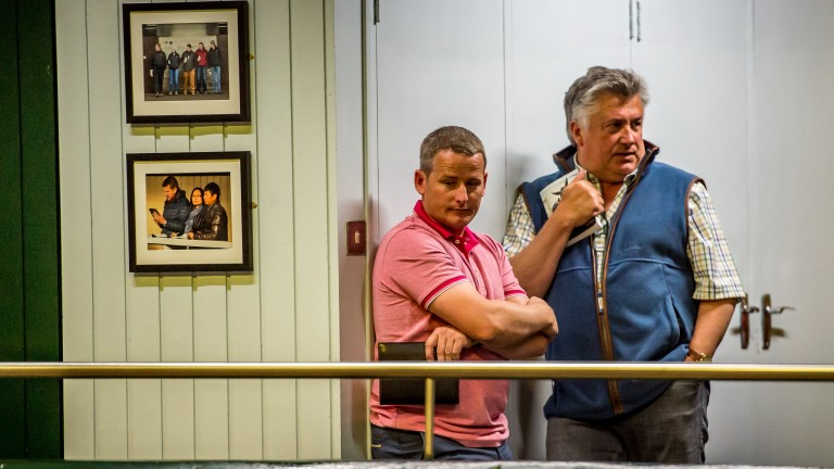 Tom Malone and Paul Nicholls at the Goffs Land Rover Sale in 2018
