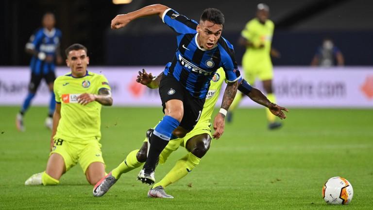 Lautaro Martinez of Inter Milan in action against Getafe