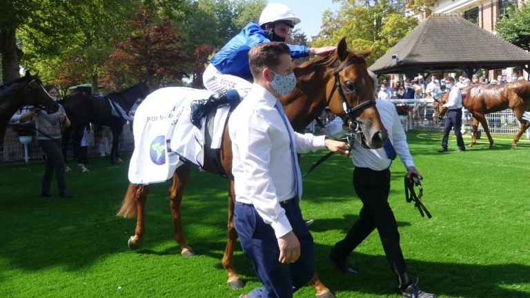 Space Blues and William Buick after winning the Prix Maurice de Gheest at Deauville