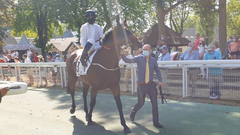 Hello Youmzain carried the colours of co-owner Haras d'Etreham to a fine second in the Prix Maurice de Gheest