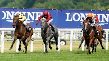 ASCOT, ENGLAND - AUGUST 08: Andrea Atzeni riding Look Closely (yellow) win The Thames Hospice Handicap at Ascot Racecourse on August 08, 2020 in Ascot, England. Owners are allowed to attend if they have a runner at the meeting otherwise racing remains beh