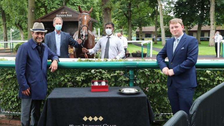 Imad Al Sagar (left) with Extra Elusive after victory in the BetVictor Rose of Lancaster Stakes at Haydock