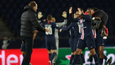 Thomas Tuchel and Paris Saint-Germain celebrate victory over Dortmund