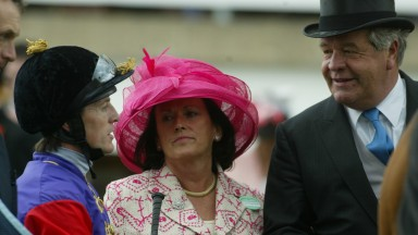 Coral Pritchard-Gordon pictured with Sir Michael Stoute and Kieren Fallon at Royal Ascot