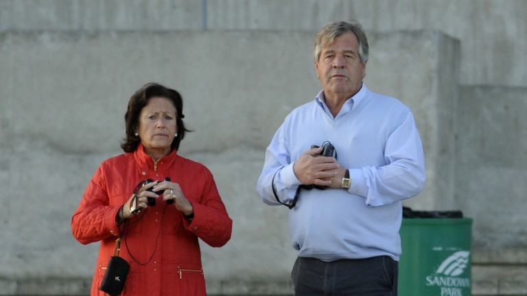 Coral Pritchard-Gordon with Sir Michael Stoute at Sandown in 2009