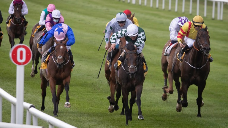 Ancient Spirit (white cap) gets the better of Bowerman in a Listed race at the Curragh