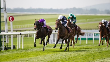 Delphi (left) holds off Master Of Reality to land the Comer Group International St Leger Trial at the Curragh