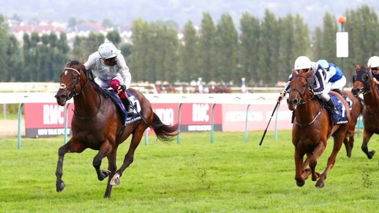 Palace Pier: hits the front under Frankie Dettori to land the Prix Jacques le Marois at Deauville