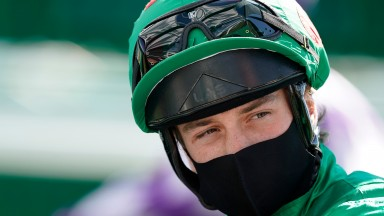 BATH, ENGLAND - JULY 22: Jockey George Rooke looks on at Bath Racecourse on July 22, 2020 in Bath, England. Owners are allowed to attend if they have a runner at the meeting otherwise racing remains behind closed doors to the public due to the Coronavirus