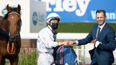 Trainer Terry Kent (right) and jockey Ray Dawson after winning the Sky Bet EBF Stallions Nursery Handicap Stakes with AtaserYork 20.8.20 Pic: Edward Whitaker/Racing Post