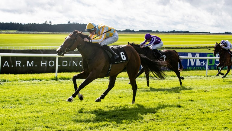 Pretty Gorgeous: winning the Group 2 Debutante Stakes at the Curragh