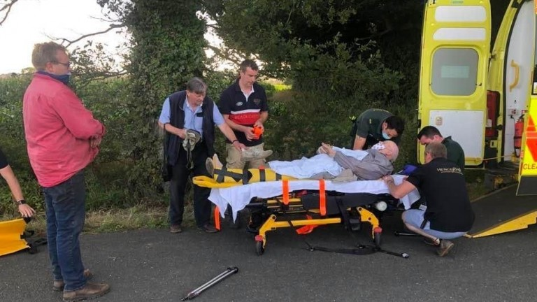 Simon Whitaker and his son Tom helped rescue an elderly man with a broken ankle