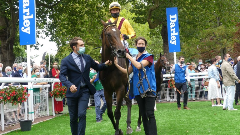 Campanelle: returns to the winner's enclosure after landing the Prix Morny at Deauville
