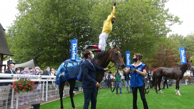 Flying high: Frankie Dettori secures a second Group 1 of his French trip with Campanelle in the Darley Prix Morny