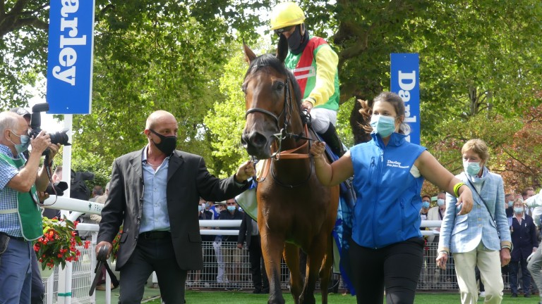 Audarya and Ioritz Mendizabal return to the winner's enclosure at Deauville