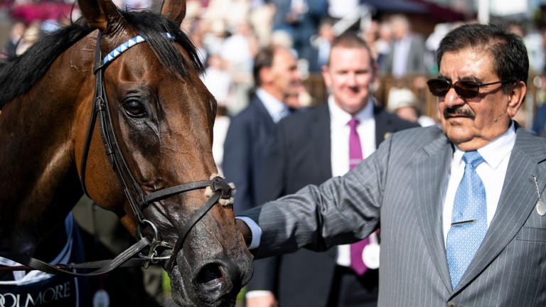 Sheikh Hamdan alongside Battaash after his success in the 2019 Nunthorpe Stakes
