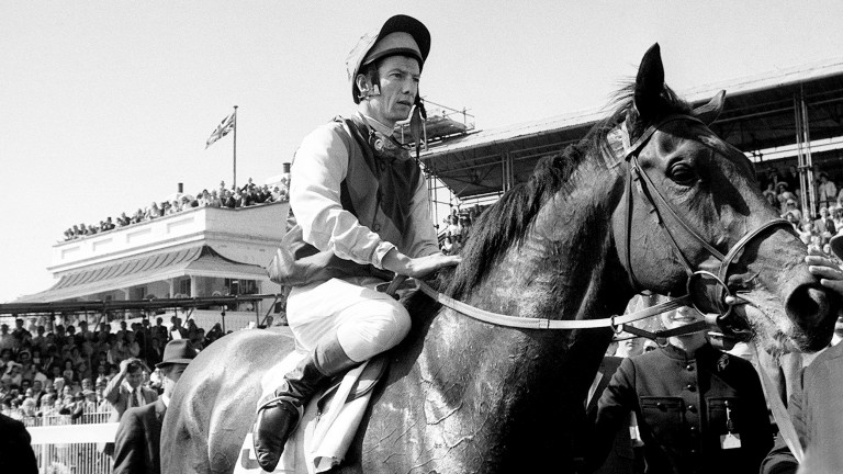 The awards are named after Lester Piggott, pictured here on Nijinsky after winning the 1970 Derby