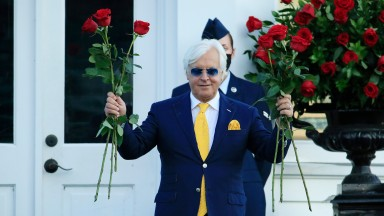 LOUISVILLE, KENTUCKY - SEPTEMBER 05: Trainer Bob Baffert celebrates after Authentic #18 won the 146th running of the Kentucky Derby at Churchill Downs on September 05, 2020 in Louisville, Kentucky. Authentic's win gives Bob Baffert his 6th career Kentucky