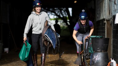 Happy stable staff at Richard Hannon's Herridge Racing Stables in Collingbourne Ducis 4.9.20Pic: Edward Whitaker