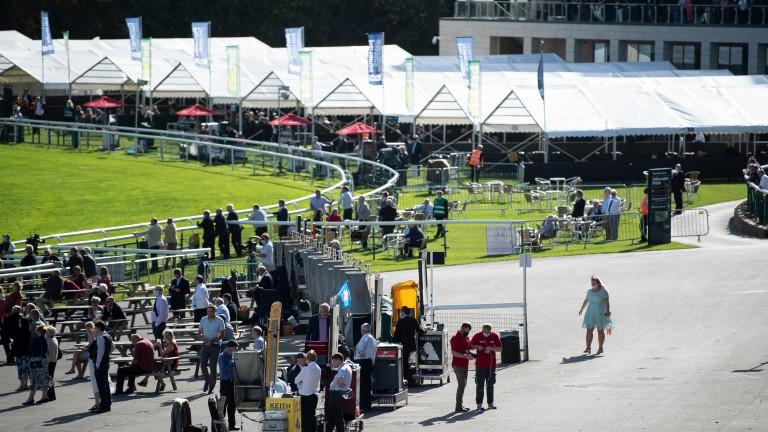 Racegoers were split into designated zones at Doncaster's trial event