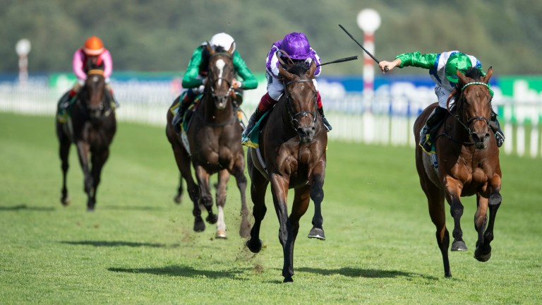 Wichita fends off One Master (right) in the Group 2 Park Stakes at Doncaster