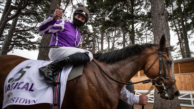 Seamie Heffernan celebrates after winning the Irish Champion Stakes on Magical