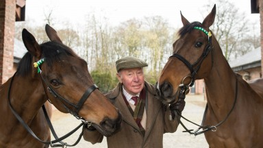 Trevor Hemmings at his Gleadhill House Stud with Grand National heroes Ballabriggs (left) and Hedgehunter