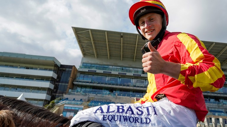 Thumbs up: St Leger winner Tom Marquand is all in favour of a more communicative approach to a jockey's job