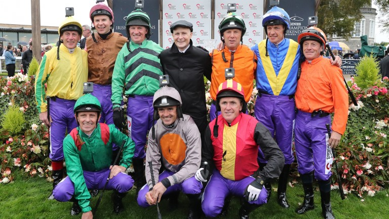 Cast of champions: (top from left to right) Johnny Murtagh, Joseph O'Brien, Paul Carberry, Pat Smullen, Charlie Swan, Richard Hughes and Kieren Fallon; (kneeling) Ted Durcan, Ruby Walsh and Tony McCoy before The Pat Smullen Champions Race For Cancer Trial