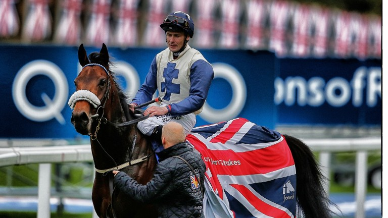 Returning on Fascinating Rock after victory in the Champion Stakes at Ascot in 2015
