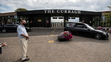 Dermot Weld longtime friend of Pat Smullen pay his respects after the leading rider passed away yesterday.The Curragh Racecourse.Photo: Patrick McCann/Racing Post 16.09.2020