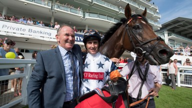 Trainer Peter Hedger and jockey Simon Walker with C'est No Mour after the amateurs DerbyEpsom 27.8.17 Pic: Edward Whitaker