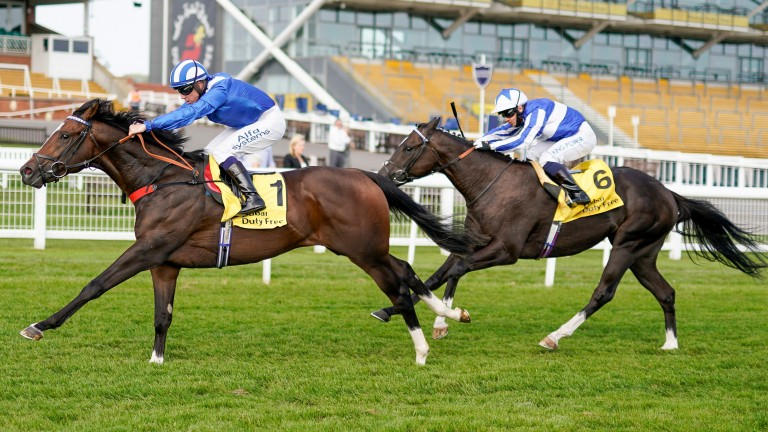 Alkumait (1) strides to success in the Group 2 Dubai Duty Free Mill Reef Stakes at Newbury