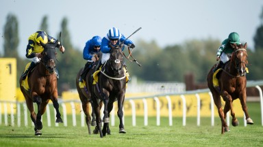 Elarqam (blue and white) is a game winner of the Dubai Duty Free Legacy Cup