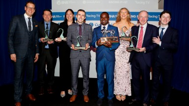 Ed Chamberlin and Oisin Murphy with the catagary winners (l to R) Mat Nicholls, Simone Sear, Kevin Skelton, James Frank, Hayley Ashcroft and Andy Stringer Godolphin Stud and Stable Staff Awards 24.2.2020 Pic Dan Abraham-focusonracing.com