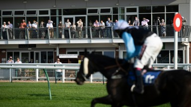 474 spectators return to the racecourse in a pilot scheme at Warwick racecourse and watch Tipalong Tyler win the finaleWarwick 21.9.20 Pic: Edward Whitaker/Racing Post