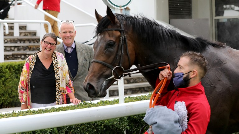 Part-owners Kate and Eamonn O'Brien sport big smiles after Call My Bluff's Goodwood success