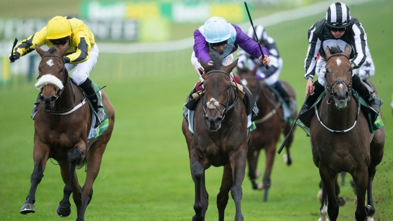 Alcohol Free (Oisin Murphy,centre) beats Miss Amulet (Ryan Moore,right) and Umm Kulthum in the Juddmonte Cheveley Park StakesNewmarket 26.9.20 Pic: Edward Whitaker/Racing Post