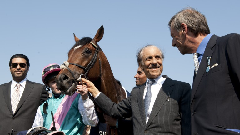 Khalid Abdullah with Frankel and Sir Henry Cecil (right) after the colt's remarkable 2,000 Guineas win in 2011